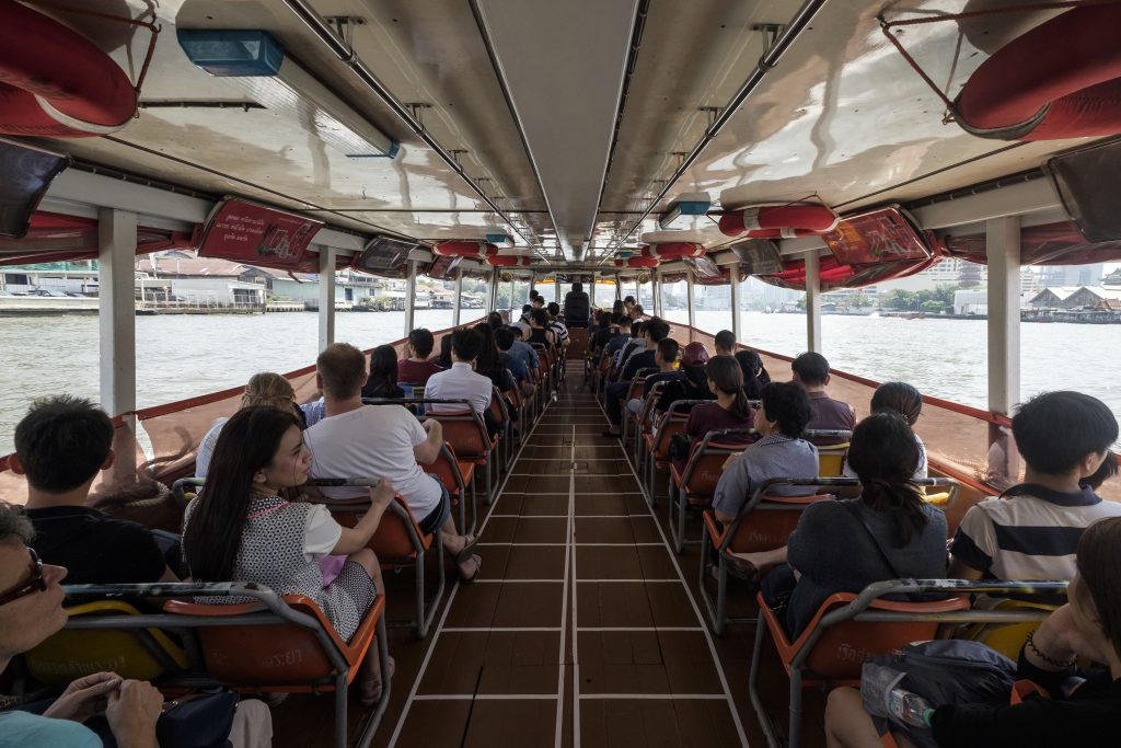 Aboard the Chao Praya River express Boat